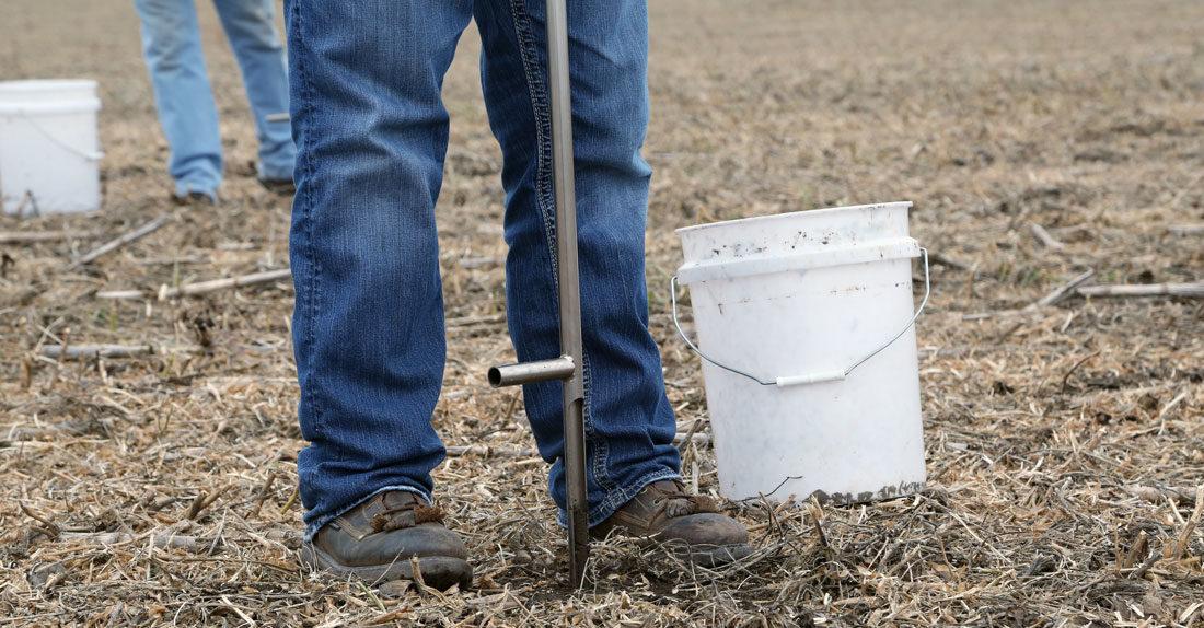 Soil sampling with a soil probe in field residue