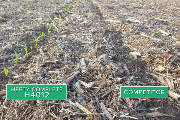 Hefty Brand Corn 4012 Treated with Hefty Complete Seed Treatment compared to competitor seed in North Central South Dakota.