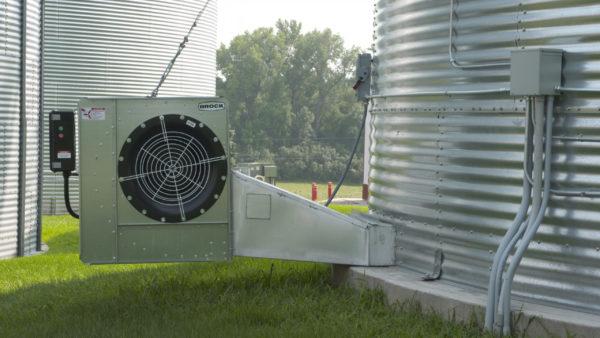 Grain Bin Fan attached to a grain bin